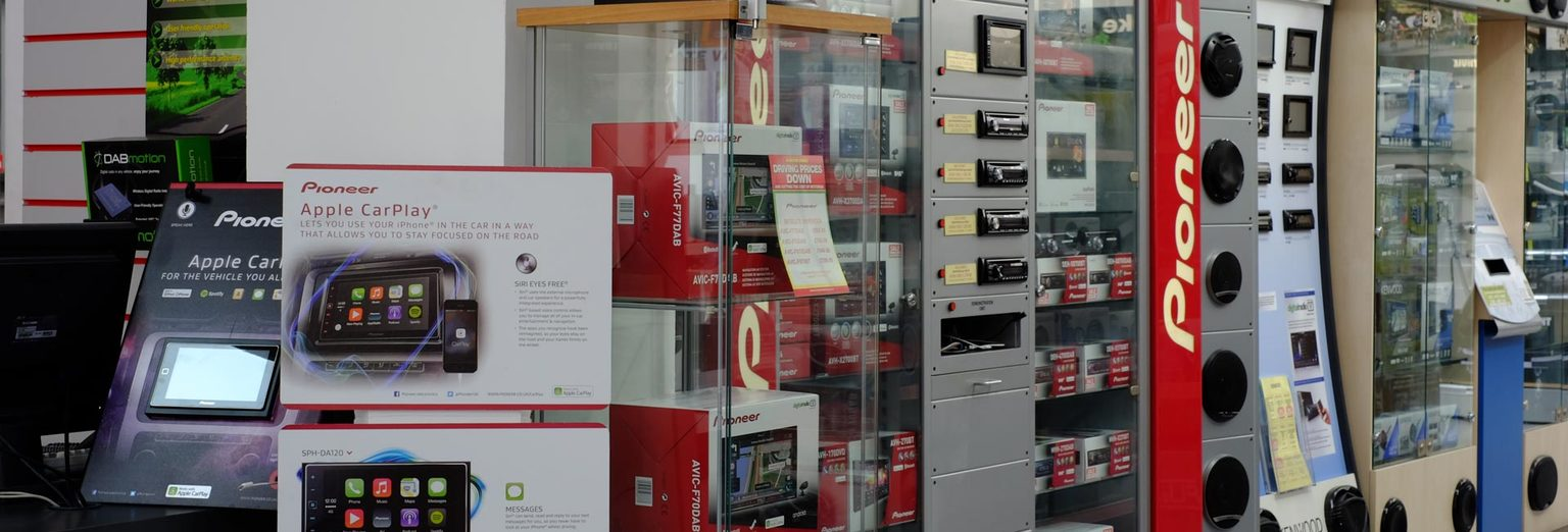 Image of our audio products in store